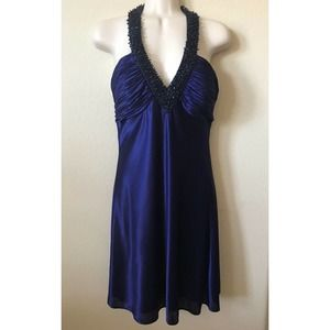 Morgan & Co Halter Plunge Beaded Sleeveless Dress